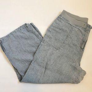 J Jill Washed Blue Linen Wide Leg Capri Pants